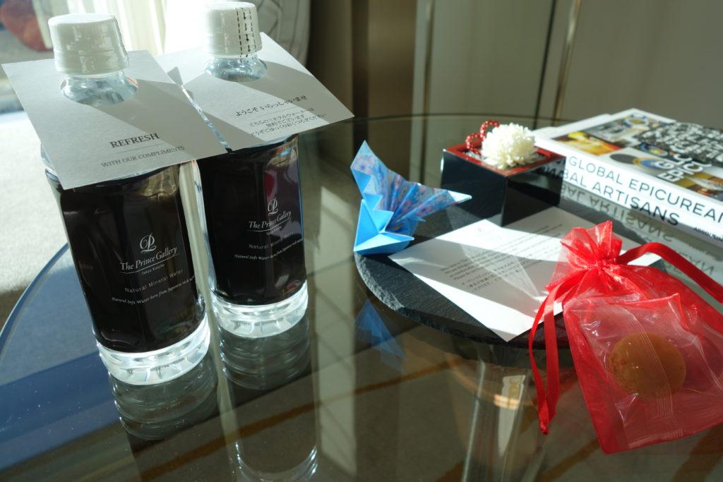 ザ・プリンスギャラリー東京紀尾井町,ラグジュアリーコレクションホテルお部屋無料の水とお菓子