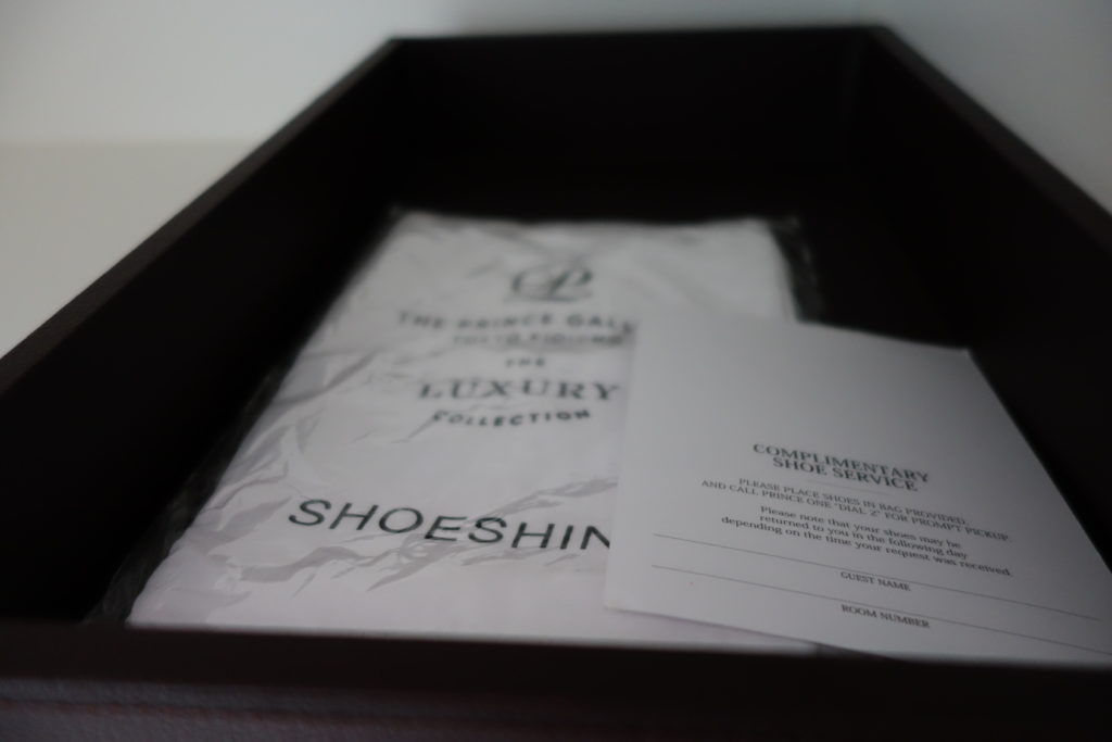 ザ・プリンスギャラリー東京紀尾井町,ラグジュアリーコレクションホテルお部屋靴磨きサービス